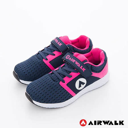 AIRWALK(童)- 小魚遊 透氣網布方便黏扣兒童運動鞋-深藍粉