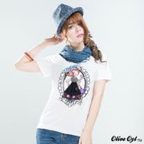 【Olive Oyl奧莉薇】亮片彩圖彈性柔棉長版T恤(共二色)