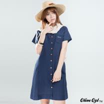 【Olive Oyl奧莉薇】布蕾絲綁帶口袋棉麻洋裝(深藍)