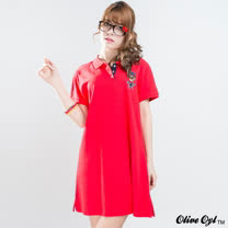 【Olive Oyl奧莉薇】經典繡圖POLO衫洋裝(共三色)