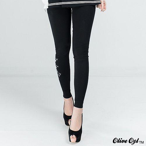 ~Olive Oyl奧莉薇~褲管印字彈性內搭褲 黑色