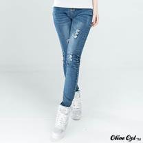 【Olive Oyl奧莉薇】割破彈性牛仔褲(藍色)