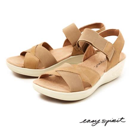 Easy Spirit--交叉皮革厚底涼鞋--清新駝