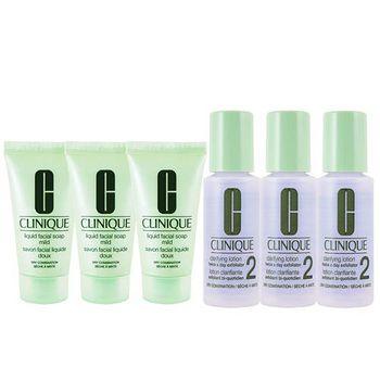 Clinique 三步驟洗面膠30mlX3+三步驟潔膚水二號30mlX3 (溫和型)