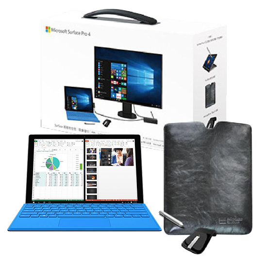 Microsoft 微軟 Surface Pro 4 i5 4G/128GB SSD Win10 Pro 12.3吋平板電腦-【原廠鍵盤+Office 365個人一年版+ARC滑鼠+特仕皮套】