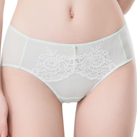 【思薇爾】波希女伶系列M-XXL蕾絲中腰三角內褲(淡青綠)