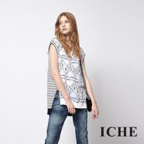 ICHE 衣哲 時尚天鵝條紋印花拼接造型長版上衣