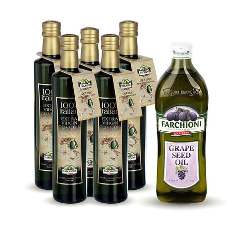 【法奇歐尼】莊園抗氧化健康油-獨家組(冷壓初榨橄欖油500ml*5+葡萄籽油1000ml*1)