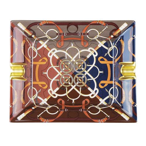 HERMES 愛馬仕 經典印度摩利圖騰陶瓷雪茄菸灰缸(圖騰)