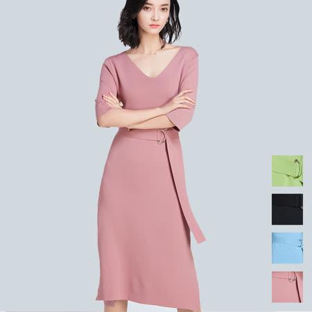 【nata】簡約繫帶針織洋裝