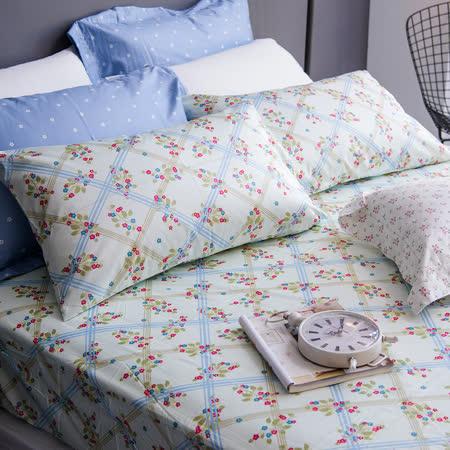 OLIVIA 《 夏綠蒂 》 雙人床包枕套三件組 綠格版