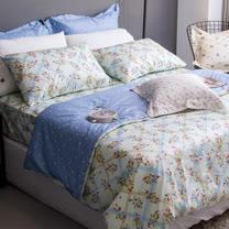 OLIVIA 《 夏綠蒂 》 特大雙人兩用被套床包四件組 綠格版