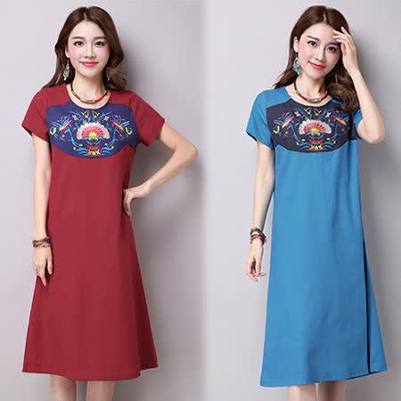 【韓國KW】民族風寬鬆繡花拼接短袖洋裝