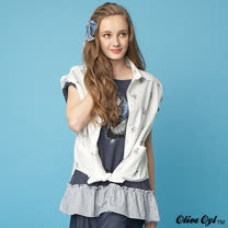 【Olive Oyl奧莉薇】亮粉印圖拼接荷葉襬上衣(共二色)