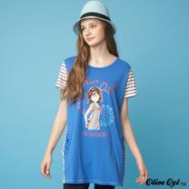 【Olive Oyl奧莉薇】配色條紋拼接彈性長版上衣(共二色)