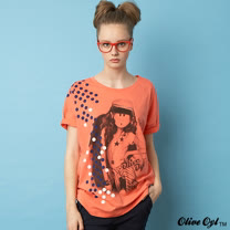 【Olive Oyl奧莉薇】圓點大圖落肩長版T恤(共二色)