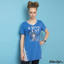 【Olive Oyl奧莉薇】V領大圖拼接長版上衣(共二色)