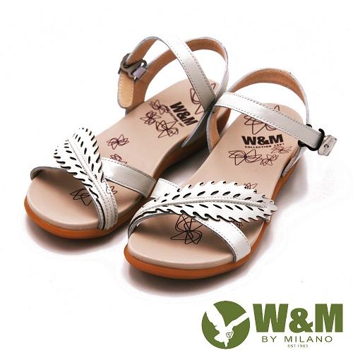 W M 雕花 環扣式涼鞋 女鞋~白  紫