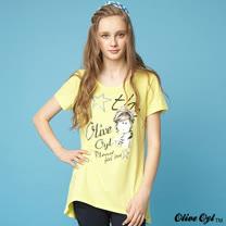 【Olive Oyl奧莉薇】水鑽印圖長版上衣(共二色)