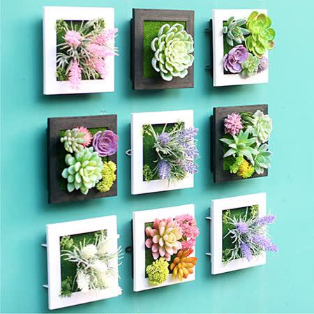 【PS Mall】3D立體仿真多肉植物人造草盆栽牆飾掛飾 相框壁飾 壁掛 2入 (J649)