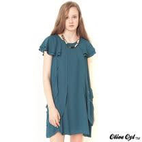 【Olive Oyl奧莉薇】荷葉層次雪紡洋裝(共二色)