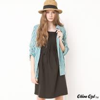 【Olive Oyl奧莉薇】落肩素面打褶抽繩洋裝(共二色)