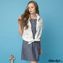 【Olive Oyl奧莉薇】織紋後打褶布釦大口袋洋裝(共二色)