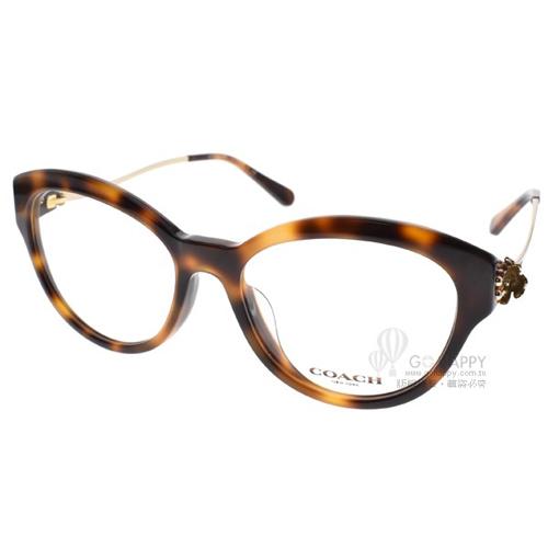 COACH眼鏡 時尚唯美雕花(琥珀-金) #CO6093F 5434