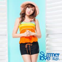 【夏之戀SUMMERLOVE】大女亮彩連身褲兩件式泳衣S17703