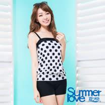 【夏之戀SUMMERLOVE】 大女水玉點點長版二件式泳衣S17705