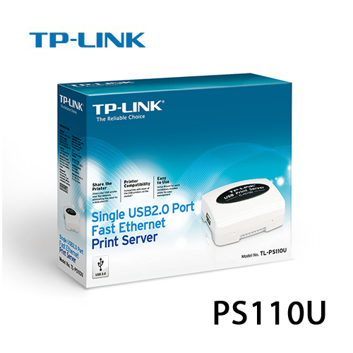 TP~LINK TL~PS110U 單一USB2.0 連接埠 乙太 列印伺服器