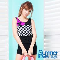 【夏之戀SUMMERLOVE】大女賽車風長版二件式泳衣(S17706)