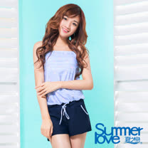 【SUMMERLOVE夏之戀】大女條紋印花連身褲兩件式S17707