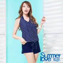 【夏之戀SUMMERLOVE】大女條紋連身褲三件式泳衣S17715