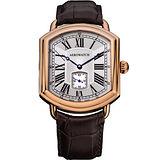 AEROWATCH 羅馬復刻紳士小秒針機械腕錶-玫瑰金框x咖啡/42mm A34923RO01