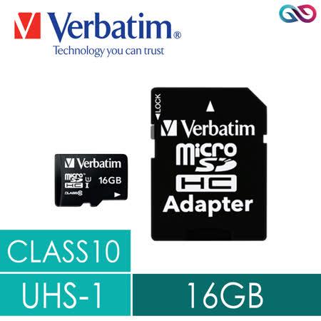 Verbatim威寶 microSDHC CLASS10 UHS-1高速記憶卡(含轉卡)-16GB