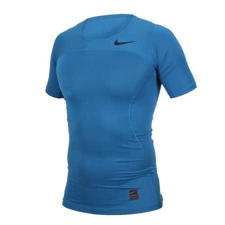(男) NIKE 短袖針織衫-慢跑 運動 T恤 短T 藍黑