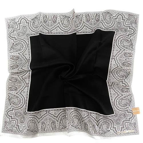MICHAEL KORS素面雙色花紋方框帕巾(大/深藍x白)