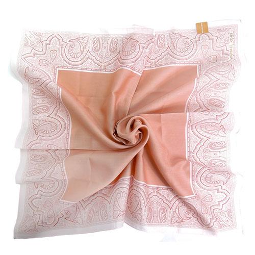 MICHAEL KORS素面雙色花紋方框帕巾(大/粉膚x淺粉)