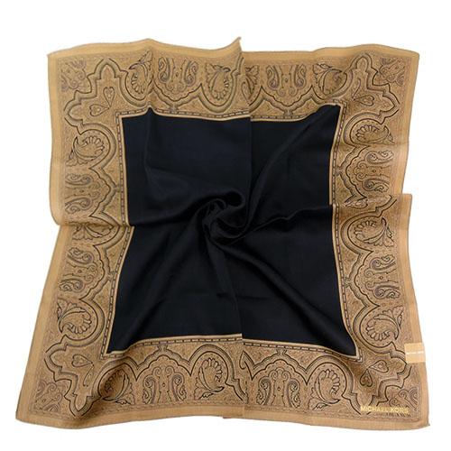 MICHAEL KORS素面雙色花紋方框帕巾(大/黑x奶茶)