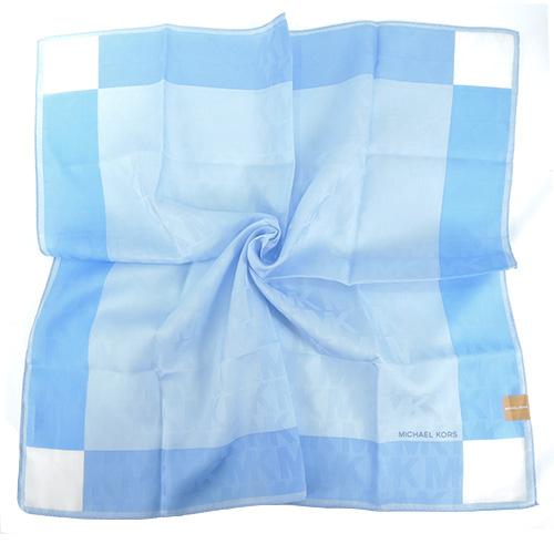 MICHAEL KORS浮水印方框漸層帕巾(大/粉藍x淺藍)