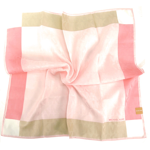 MICHAEL KORS浮水印方框漸層帕巾(大/粉紅x奶茶)