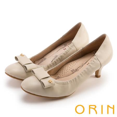 ORIN 典雅時尚女人 柔軟羊皮蝴蝶結中跟鞋-米色