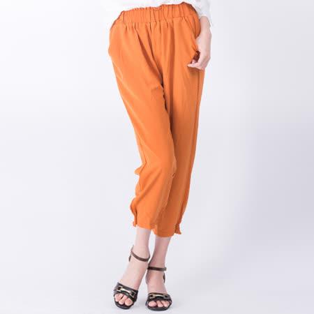 【Stoney.ax】韓版舒適透氣涼爽鬆緊口袋款兩穿縮口褲-橘色