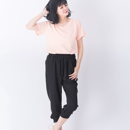 【Stoney.ax】韓版舒適透氣涼爽鬆緊口袋款兩穿縮口褲-黑色