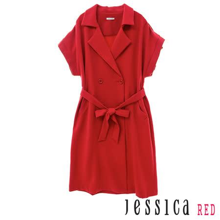JESSICA RED-翻領雙排扣短袖長版外套(紅)