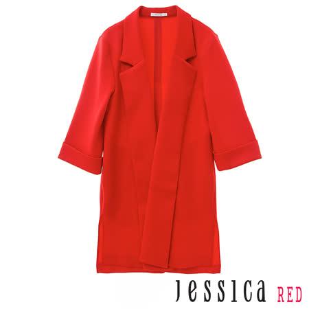 JESSICA RED-翻領開襟長版西裝外套(紅)