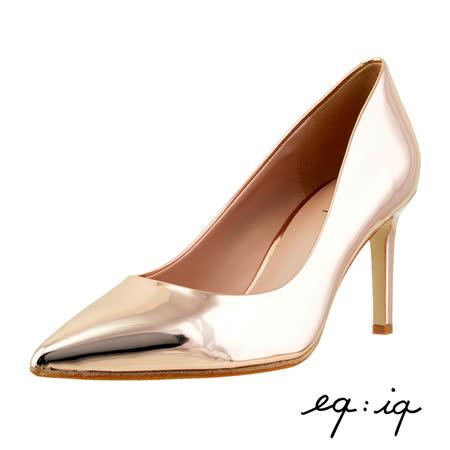 eq:iq--素雅皮革尖頭高跟鞋--玫瑰金
