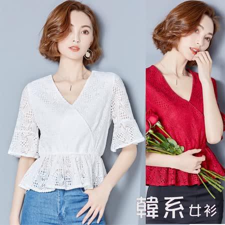 【韓系女衫】M/XL夏季透視感蕾絲荷葉V領衫-2色-20170424-5