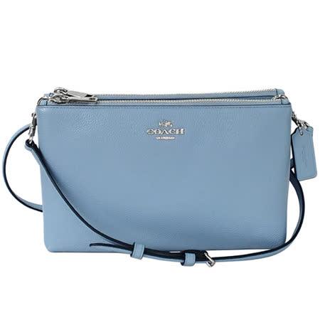 COACH水藍荔枝紋全皮雙層拉鍊袋手抓/斜背小包